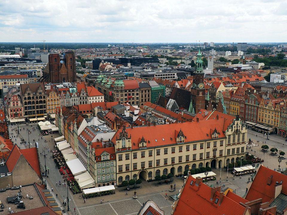 centrum Wrocławia - widok na stare miasto